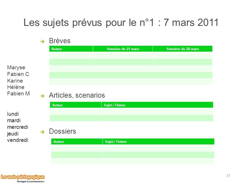 Les sujets prévus pour le n°1 : 7 mars 2011