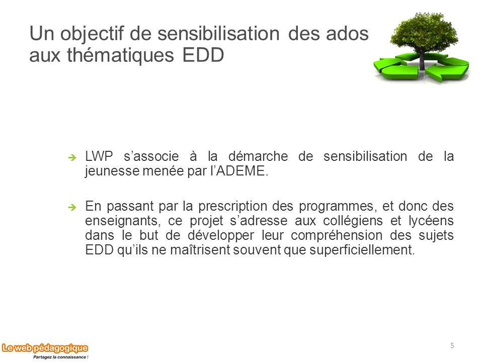 Un objectif de sensibilisation des ados aux thématiques EDD
