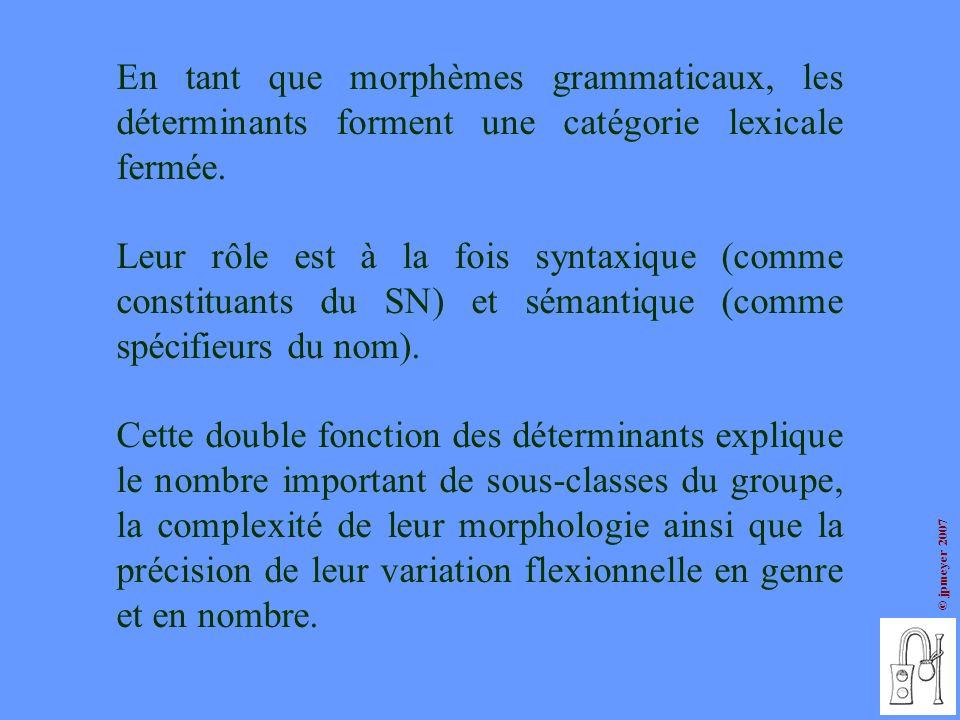 En tant que morphèmes grammaticaux, les déterminants forment une catégorie lexicale fermée.