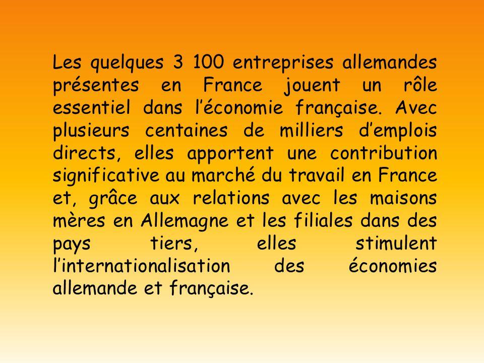 Les quelques 3 100 entreprises allemandes présentes en France jouent un rôle essentiel dans l'économie française.
