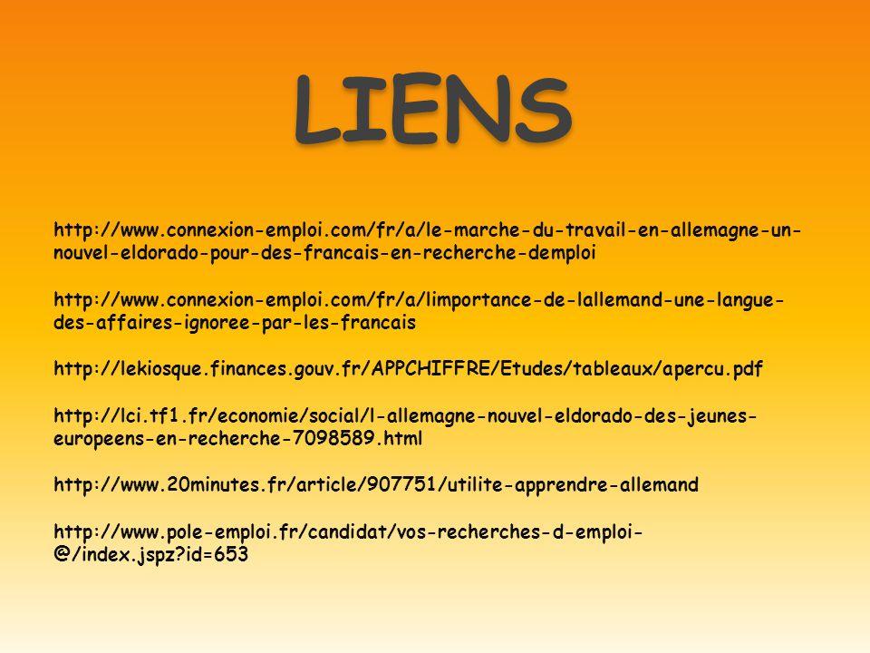LIENS http://www.connexion-emploi.com/fr/a/le-marche-du-travail-en-allemagne-un-nouvel-eldorado-pour-des-francais-en-recherche-demploi.