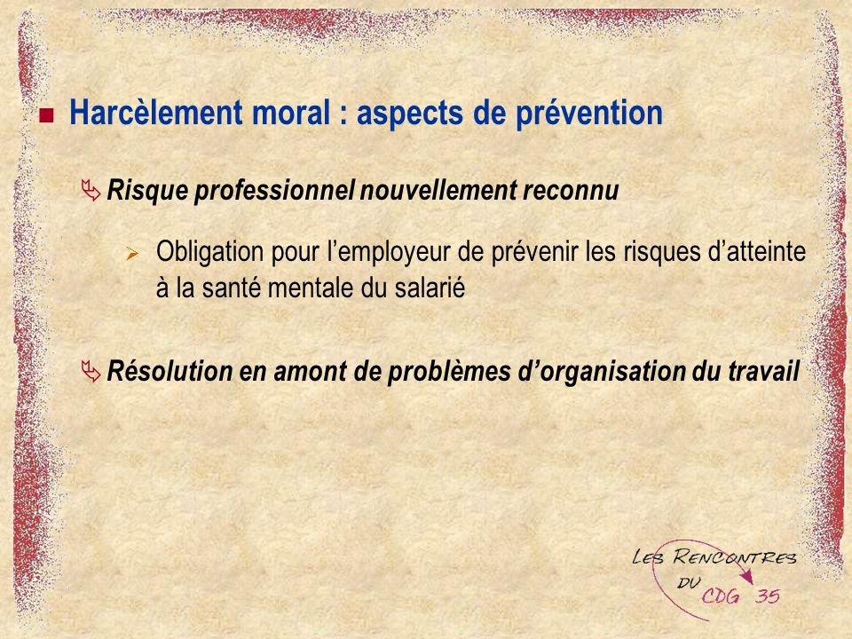 Harcèlement moral : aspects de prévention