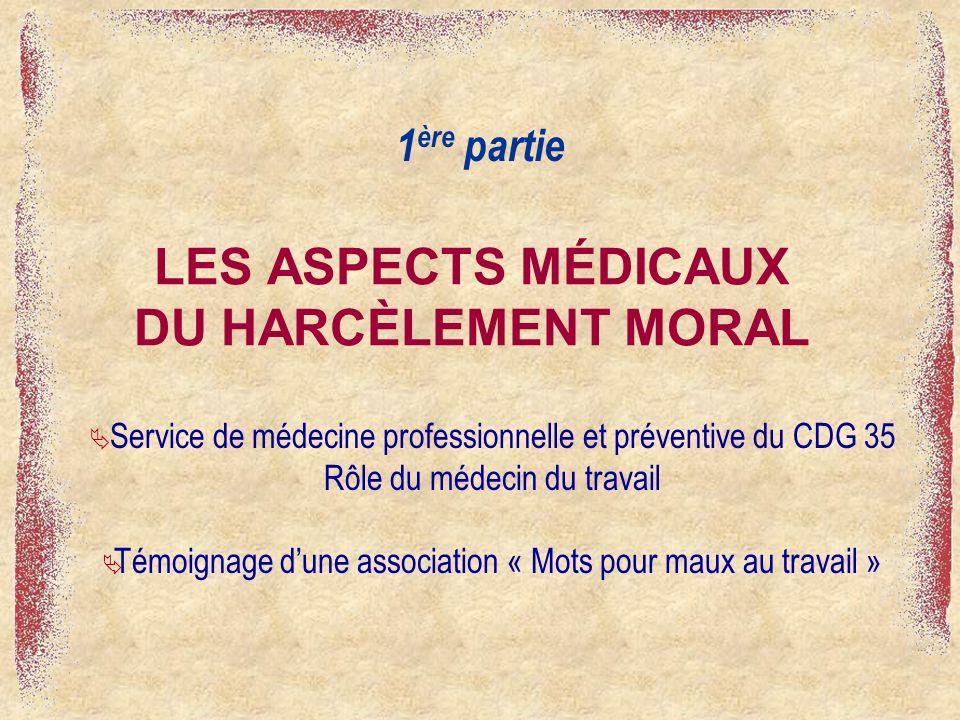 LES ASPECTS MÉDICAUX DU HARCÈLEMENT MORAL
