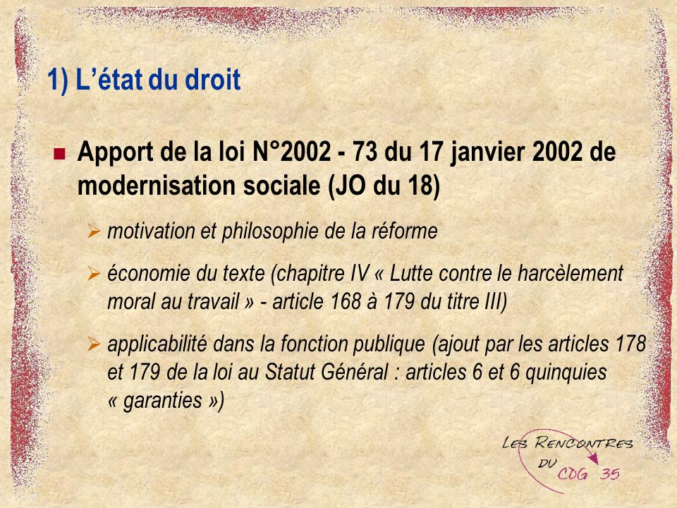 1) L'état du droit Apport de la loi N°2002 - 73 du 17 janvier 2002 de modernisation sociale (JO du 18)