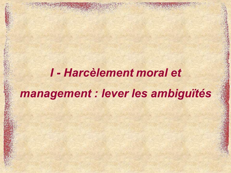 I - Harcèlement moral et management : lever les ambiguïtés