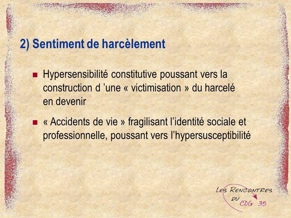 2) Sentiment de harcèlement