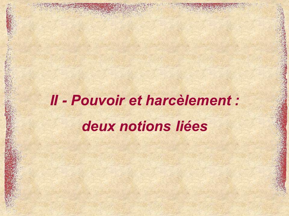 II - Pouvoir et harcèlement : deux notions liées
