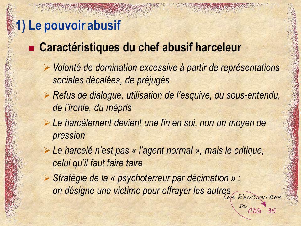 1) Le pouvoir abusif Caractéristiques du chef abusif harceleur