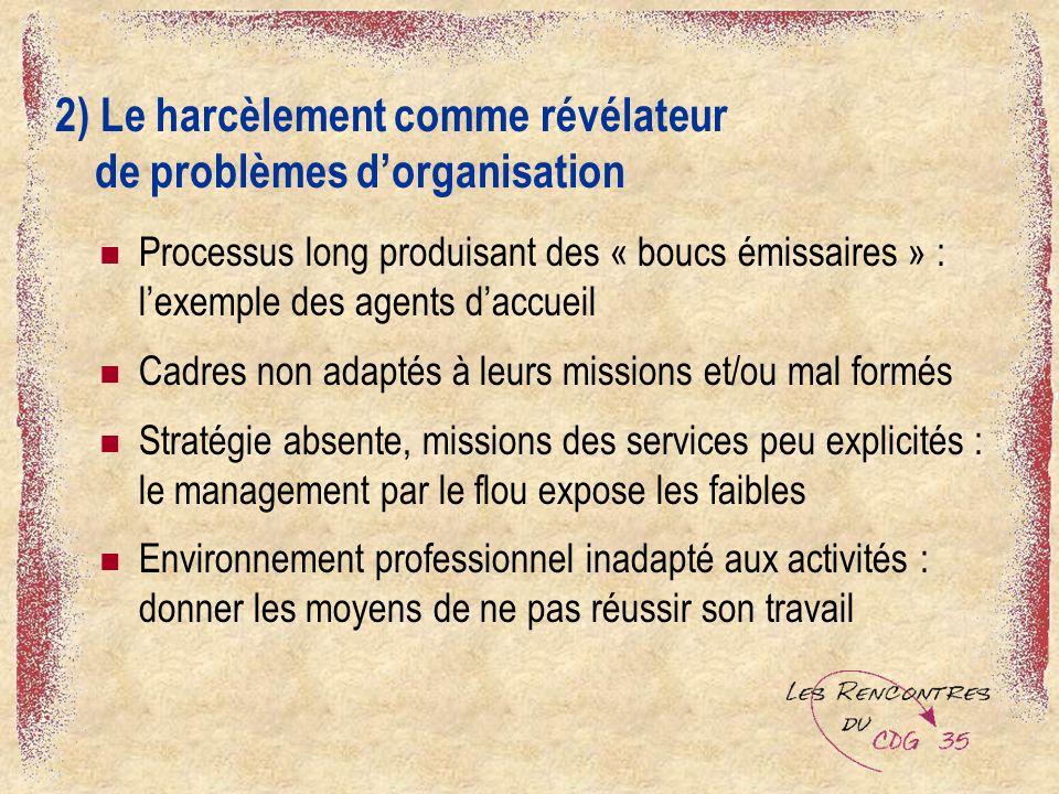 2) Le harcèlement comme révélateur de problèmes d'organisation