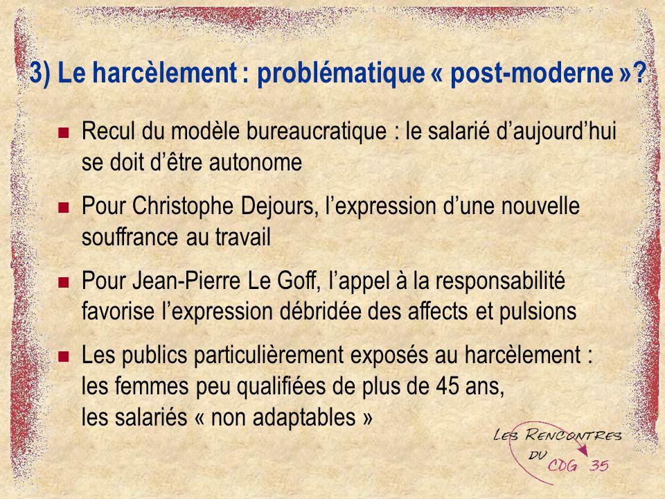 3) Le harcèlement : problématique « post-moderne »