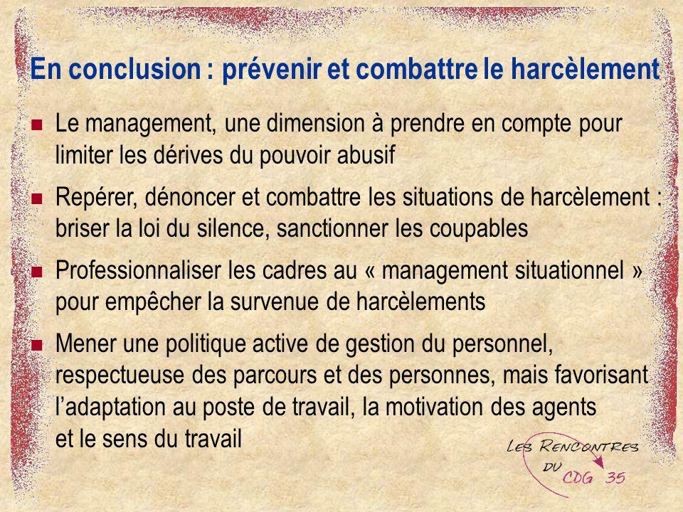 En conclusion : prévenir et combattre le harcèlement