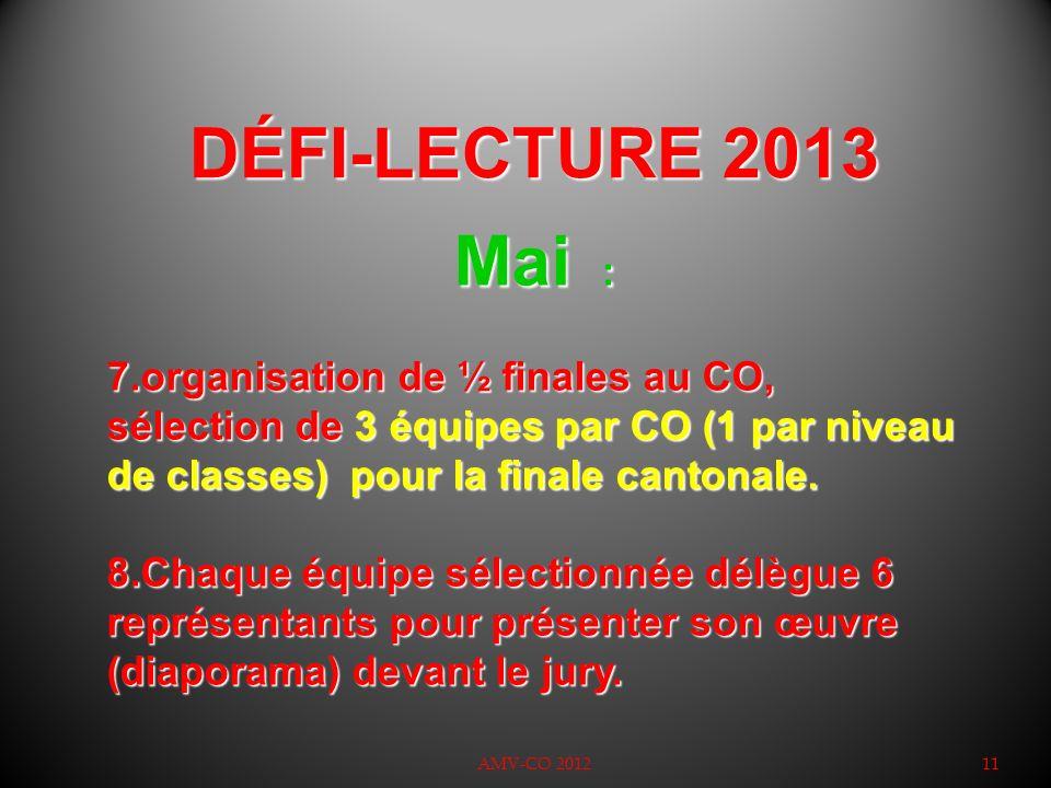 DÉFI-LECTURE 2013 Mai : organisation de ½ finales au CO, sélection de 3 équipes par CO (1 par niveau de classes) pour la finale cantonale.