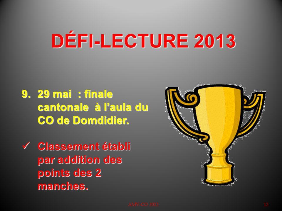 DÉFI-LECTURE 2013 29 mai : finale cantonale à l'aula du CO de Domdidier. Classement établi par addition des points des 2 manches.