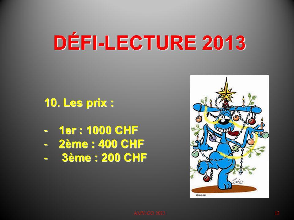 DÉFI-LECTURE 2013 Les prix : 1er : 1000 CHF 2ème : 400 CHF