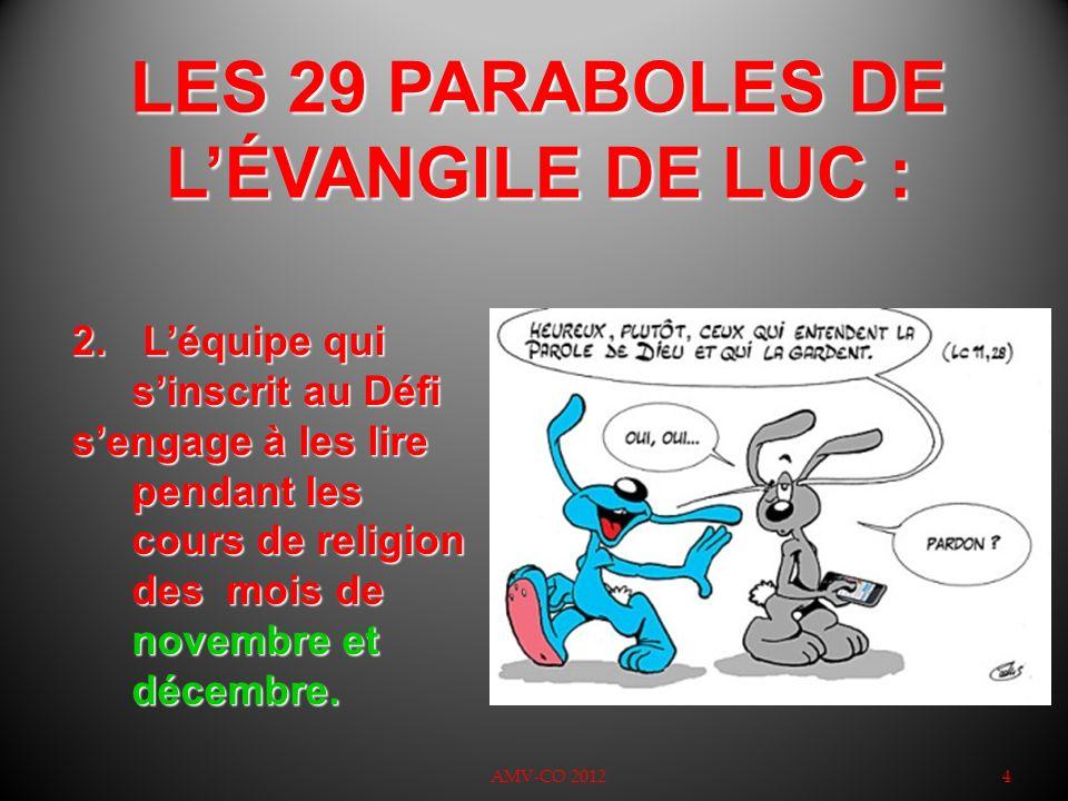 LES 29 PARABOLES DE L'ÉVANGILE DE LUC :