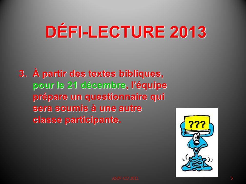 DÉFI-LECTURE 2013