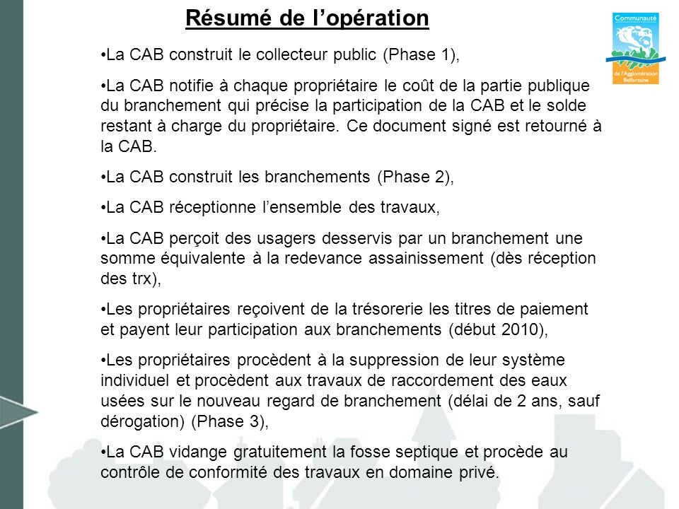 Résumé de l'opération La CAB construit le collecteur public (Phase 1),