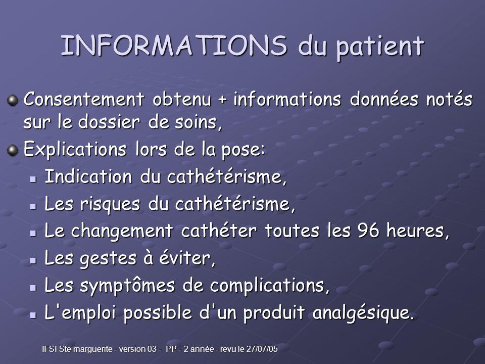 INFORMATIONS du patient