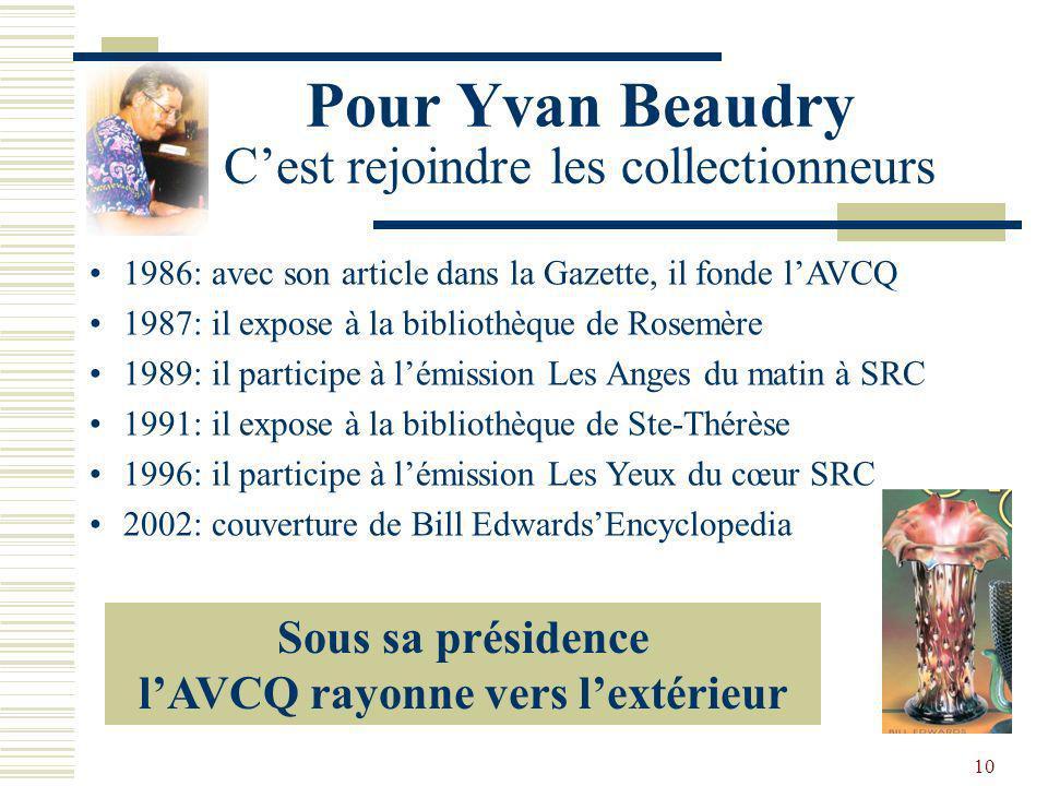 Pour Yvan Beaudry C'est rejoindre les collectionneurs