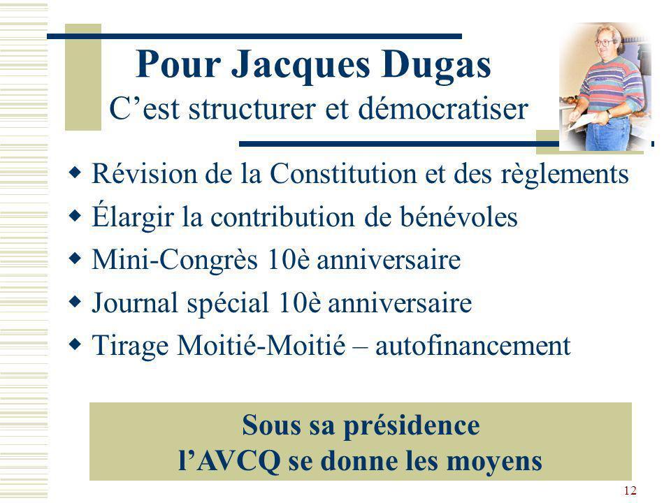 Pour Jacques Dugas C'est structurer et démocratiser