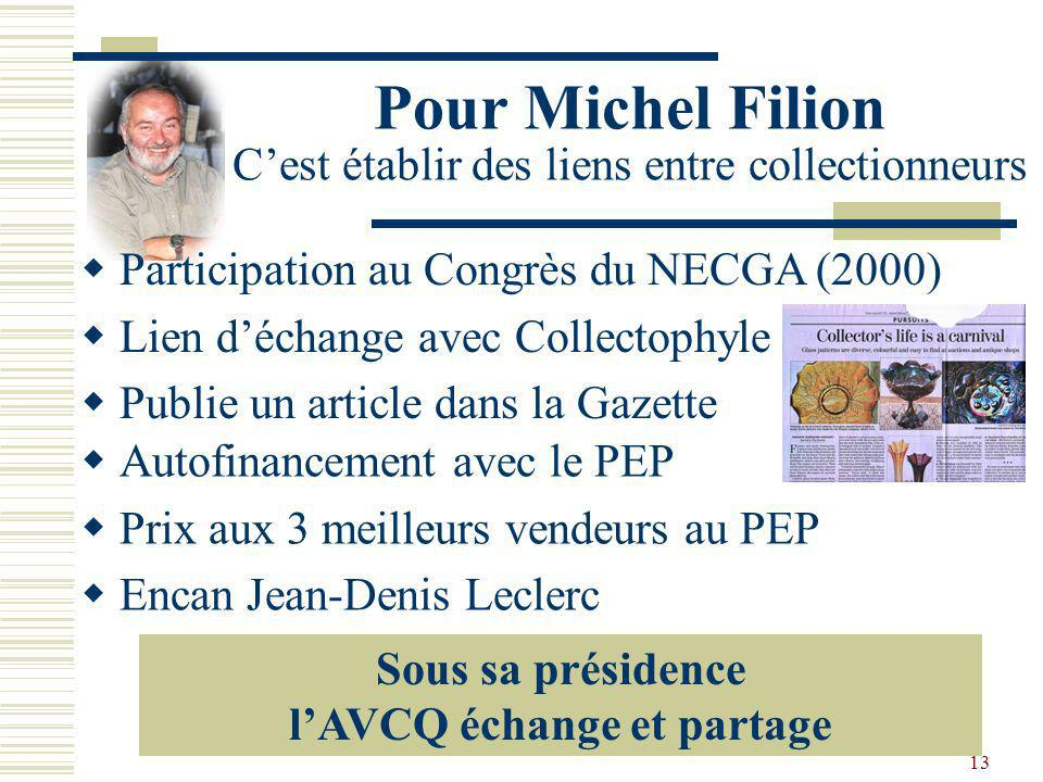 Pour Michel Filion C'est établir des liens entre collectionneurs