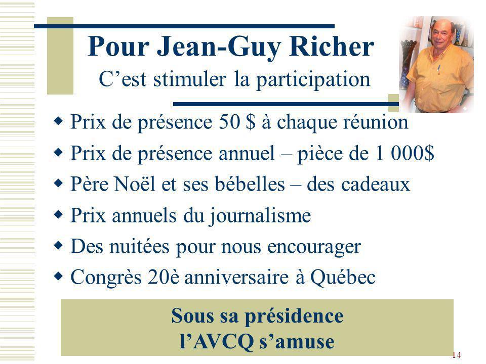 Pour Jean-Guy Richer C'est stimuler la participation