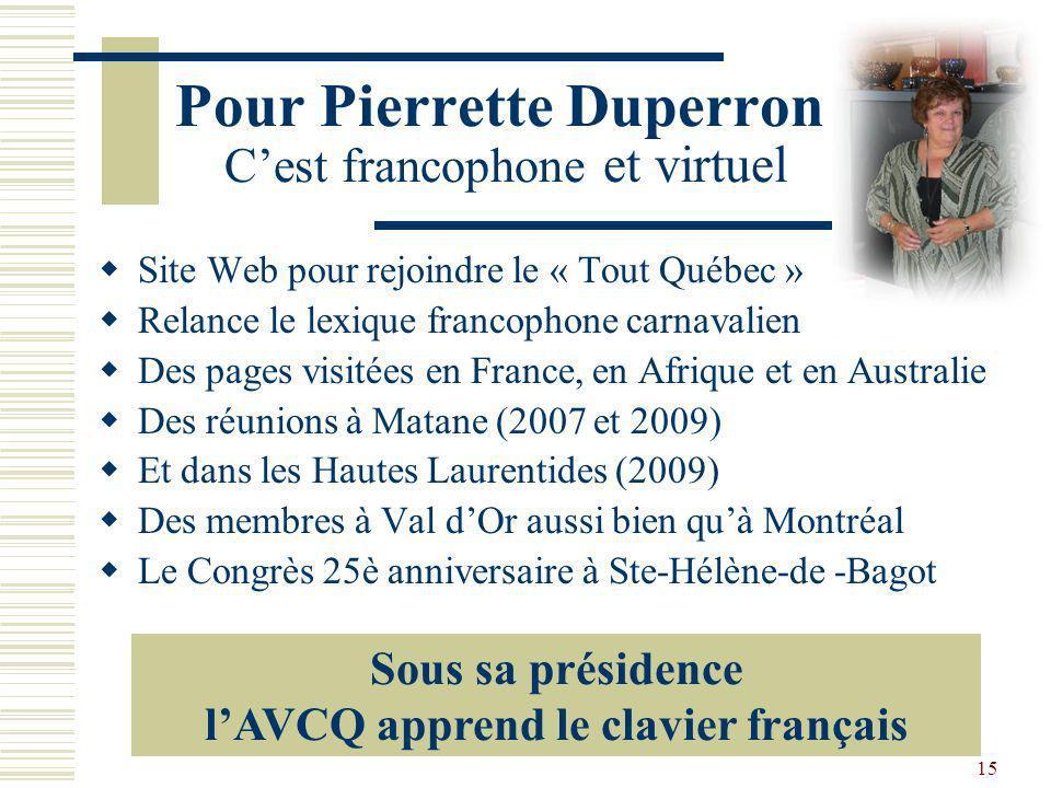 Pour Pierrette Duperron C'est francophone et virtuel