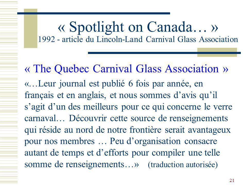 « Spotlight on Canada… » 1992 - article du Lincoln-Land Carnival Glass Association