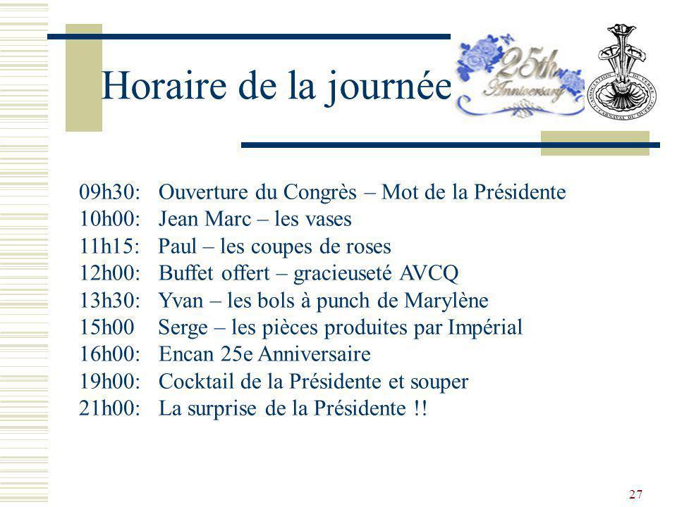 Horaire de la journée 09h30: Ouverture du Congrès – Mot de la Présidente. 10h00: Jean Marc – les vases.