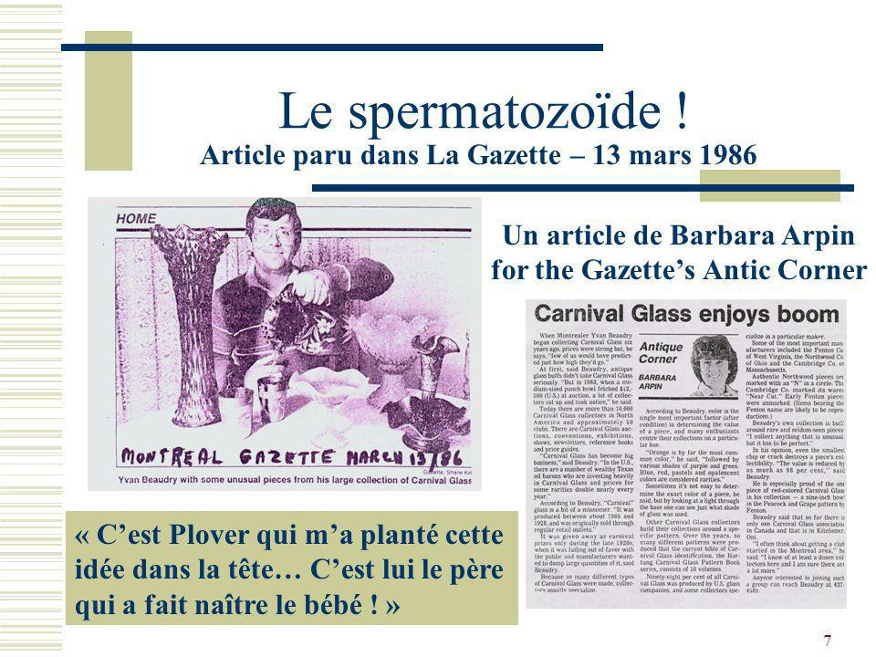 Le spermatozoïde ! Article paru dans La Gazette – 13 mars 1986