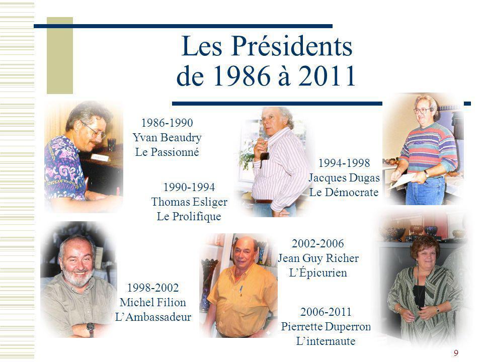 Les Présidents de 1986 à 2011 1986-1990 Yvan Beaudry Le Passionné
