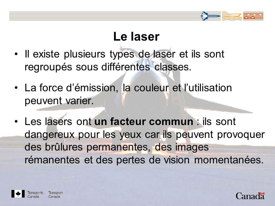 Le laser Il existe plusieurs types de laser et ils sont regroupés sous différentes classes.