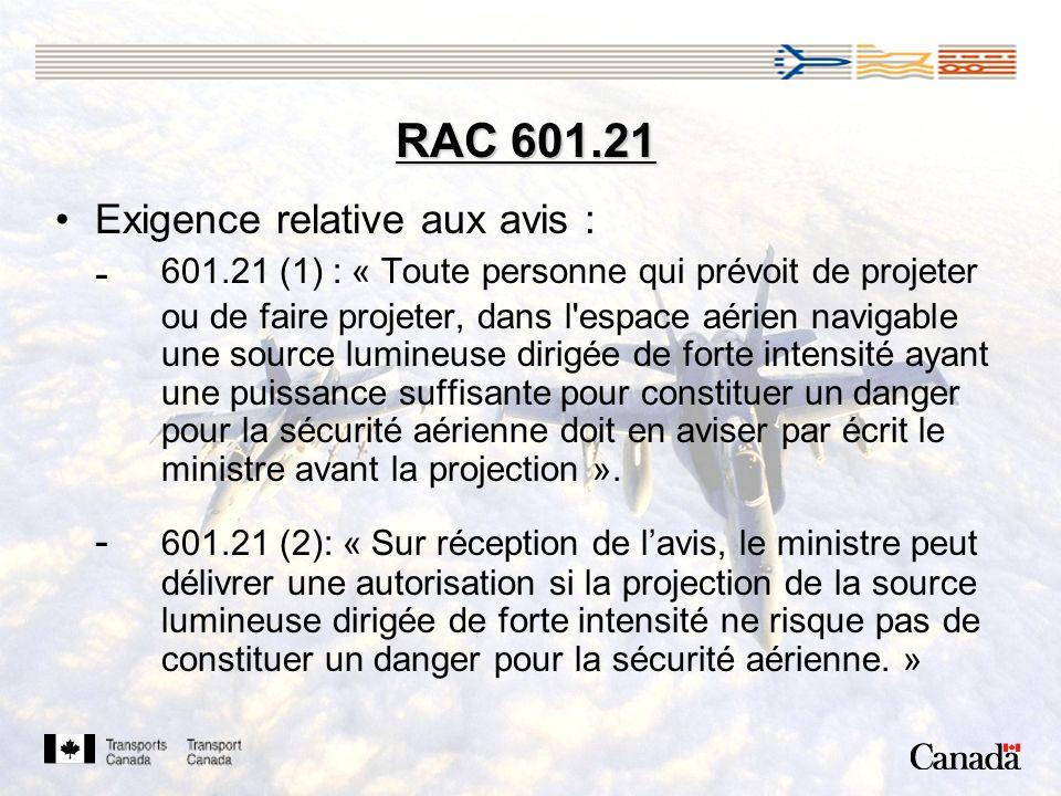 RAC 601.21 Exigence relative aux avis :
