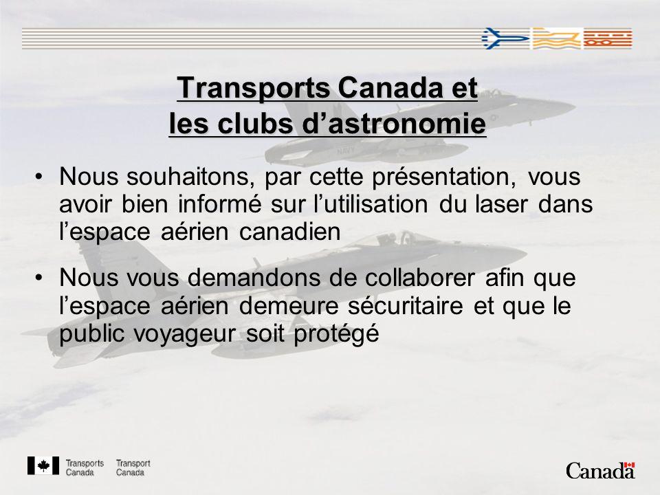 Transports Canada et les clubs d'astronomie