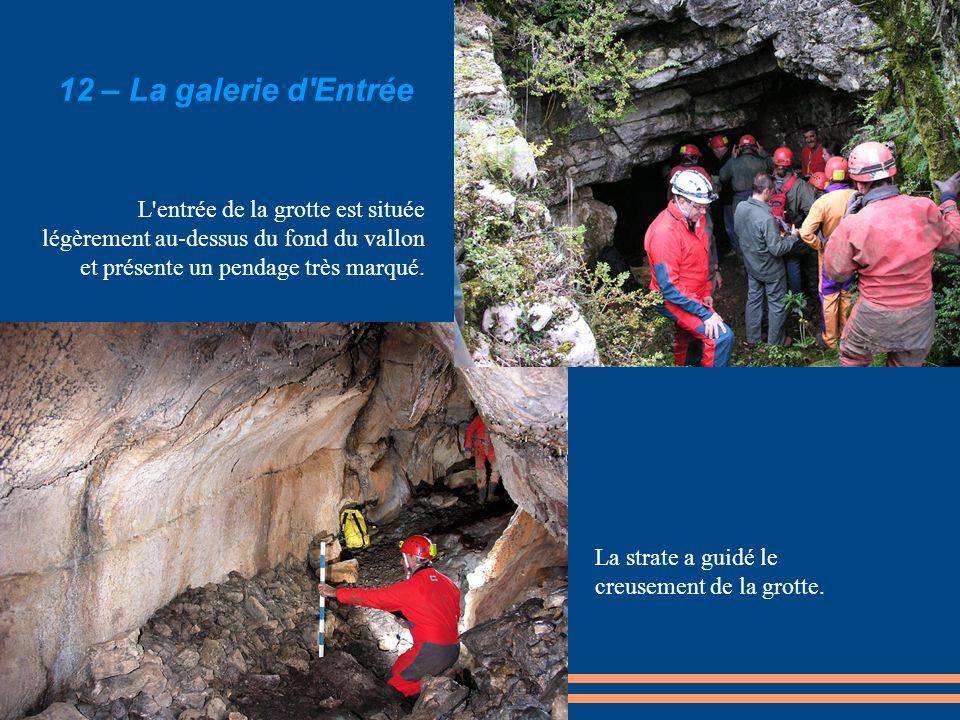 12 – La galerie d Entrée L entrée de la grotte est située légèrement au-dessus du fond du vallon et présente un pendage très marqué.
