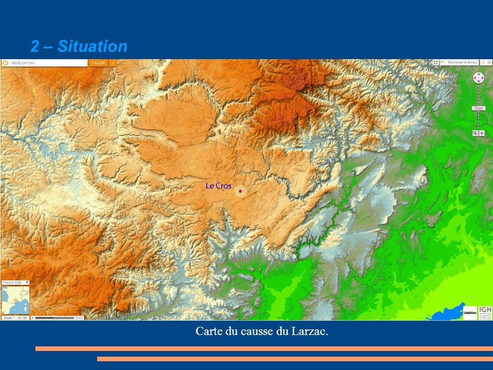 Carte du causse du Larzac.