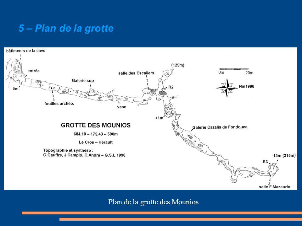 Plan de la grotte des Mounios.