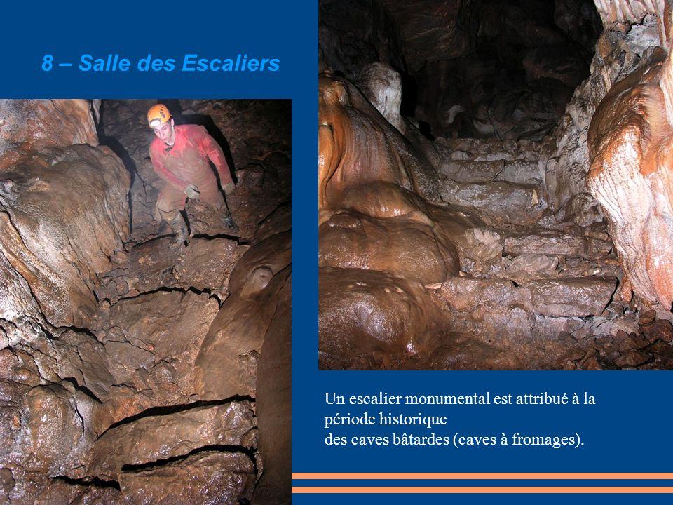 8 – Salle des Escaliers Un escalier monumental est attribué à la période historique.