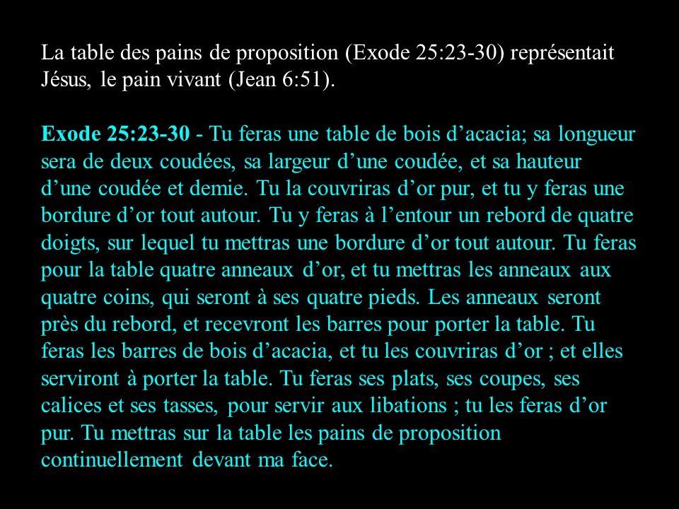 La table des pains de proposition (Exode 25:23-30) représentait Jésus, le pain vivant (Jean 6:51).