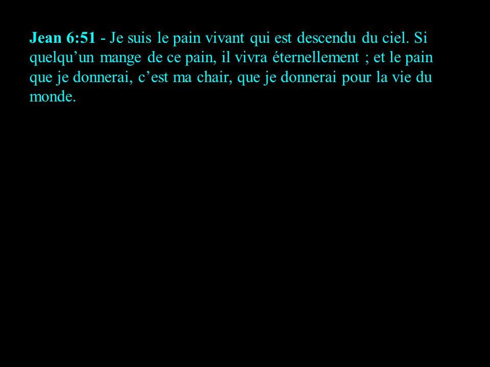 Jean 6:51 - Je suis le pain vivant qui est descendu du ciel