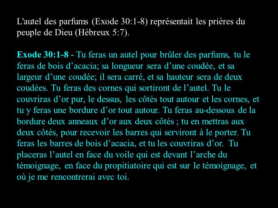 L autel des parfums (Exode 30:1-8) représentait les prières du peuple de Dieu (Hébreux 5:7).