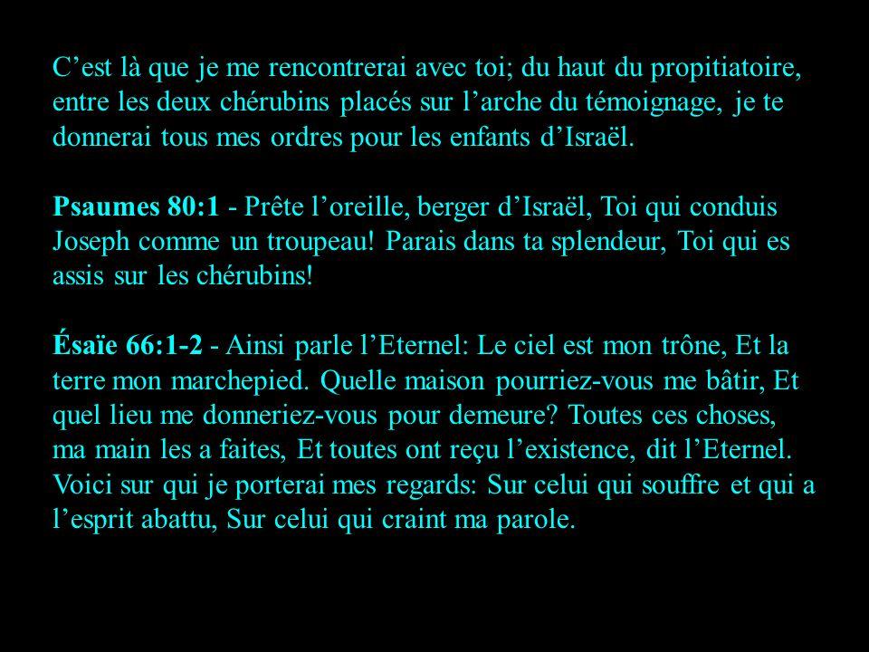 C'est là que je me rencontrerai avec toi; du haut du propitiatoire, entre les deux chérubins placés sur l'arche du témoignage, je te donnerai tous mes ordres pour les enfants d'Israël.