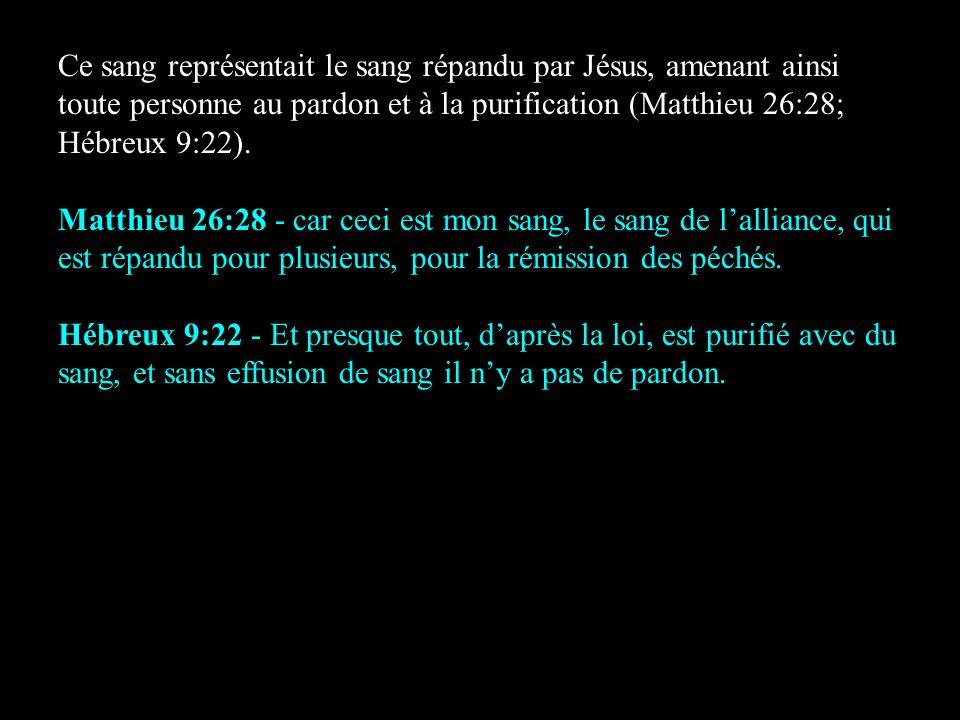 Ce sang représentait le sang répandu par Jésus, amenant ainsi toute personne au pardon et à la purification (Matthieu 26:28; Hébreux 9:22).