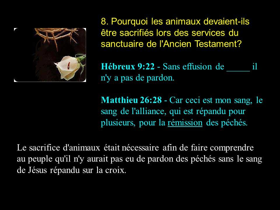 8. Pourquoi les animaux devaient-ils être sacrifiés lors des services du sanctuaire de l Ancien Testament