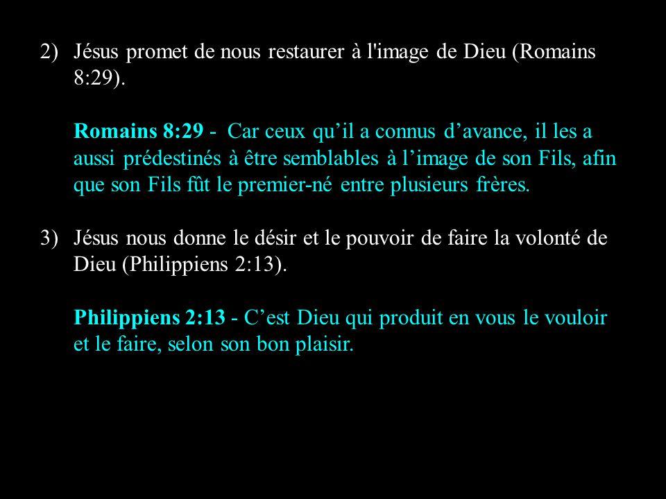 Jésus promet de nous restaurer à l image de Dieu (Romains 8:29).