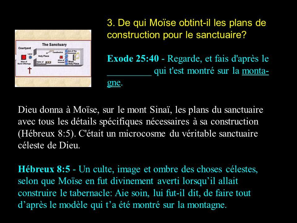 3. De qui Moïse obtint-il les plans de construction pour le sanctuaire