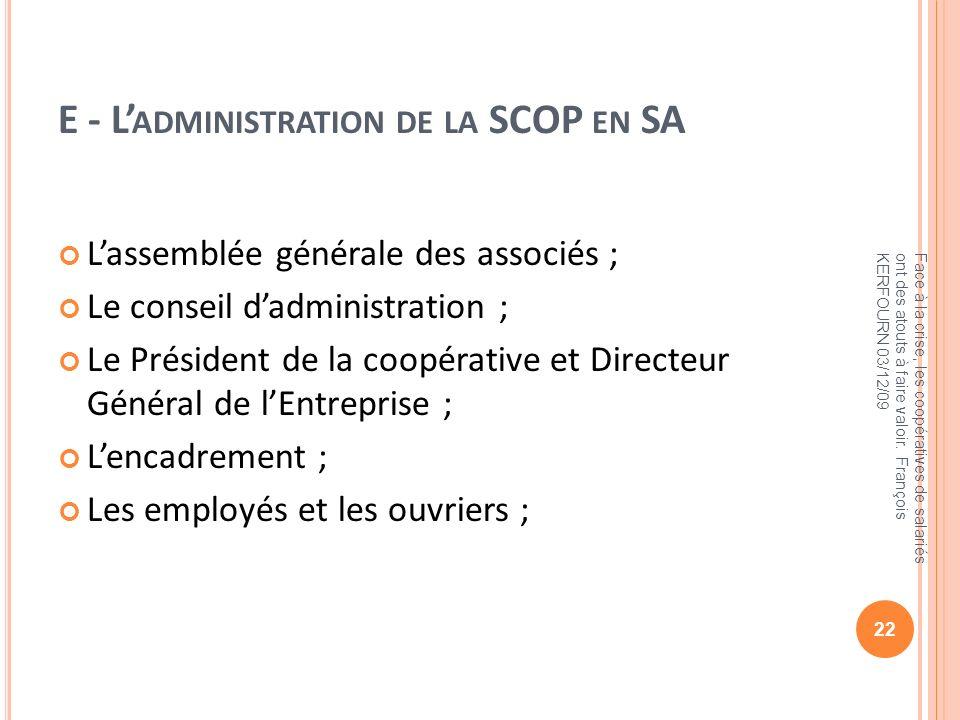 E - L'administration de la SCOP en SA