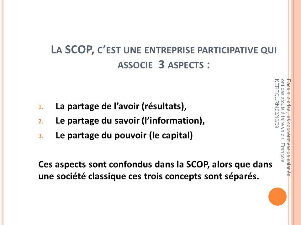La SCOP, c'est une entreprise participative qui associe 3 aspects :