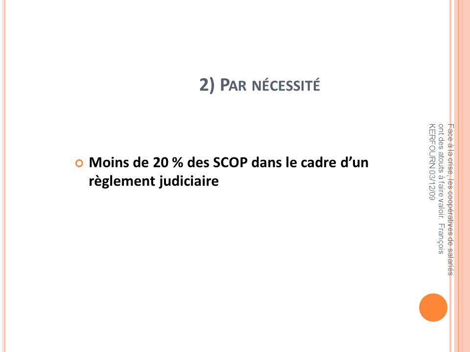2) Par nécessité Moins de 20 % des SCOP dans le cadre d'un règlement judiciaire.