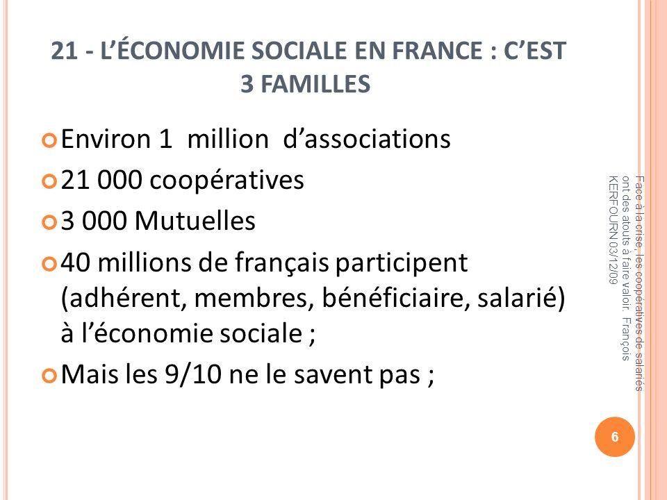 21 - L'ÉCONOMIE SOCIALE EN FRANCE : C'EST 3 FAMILLES